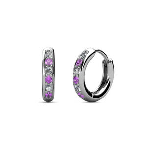 Petite Amethyst and Diamond Huggies Hoop Earrings 0.22 ctw 14K Gold JP:10461