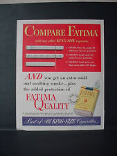 1952 Fatima Cigarettes Great Full Page Color Compare Vintage Print Ad 11204