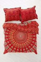 Bedding Set Duvet Doona Cover Quilt Indian Double Size Bed Mandala Red & Gold