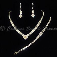 """Parure de bijoux dorée femme collier bo bracelet mariage soir cristal """"design"""""""
