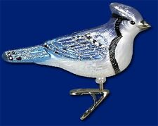 Stylized Blue Jay Old World Christmas Blown Glass Clip Bird Ornament Nwt 18087