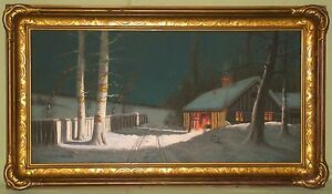 ORIGINAL A. GUNDERSON PASTEL WINTER NIGHT TIME LANDSCAPE WOOD & COMPO FRAME