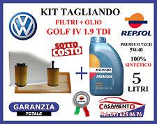 KIT TAGLIANDO OLIO REPSOL 5W40 5LT + 4 FILTRI VW VOLKSWAGEN GOLF IV 1.9 TDI