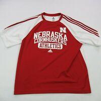 Nebraska Cornhuskers Short Sleeve Small Red Football Athletics Go Big Red Adidas