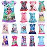 Girls Kids Moana Elsa Sleepwear Princess Mini Dress Pyjamas Nightwear Nightgown
