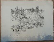 Gravure sur Cuivre SUZANNE TOURTE (1904-1979) Paysage Colline normande 20ex