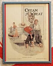 """VINTAGE 1913 FRAMED LITHO ADVERTISEMENT - CREAM OF WHEAT - """"PLAYING HOOKEY"""""""