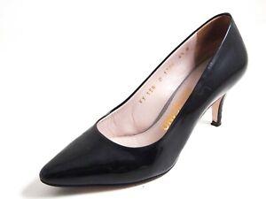 Ferragamo Med Heel Pumps Black Pat Leather Women Size US 4.5 EU 35