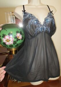 CACIQUE LINGERIE baby doll nightgown SHEER mesh nylon nightgown size 22/24