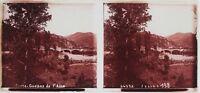 Corsica Gorges Da L Asco Placca Lente Stereo 6x13cm Vintage