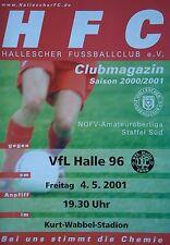 Programm 2000/01 HFC Hallescher FC - VfL Halle