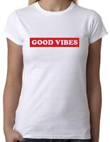 GOOD VIBES White T-Shirt with Red Print - Cool Slogan Tee Mens Ladies Holiday