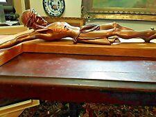 Antique Large Catholic INRI Church Wall Crucifix 40'' Cross  Metal Jesus Vintage
