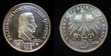 Germany 1955 F 5 Mark, Rare, BU, Schiller, Low Mintage 199,000