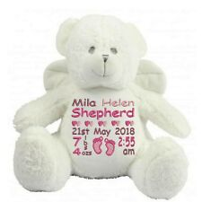 Personalised Angel Teddy Bear New Baby Shower Girl or Boy Birth Details Gift