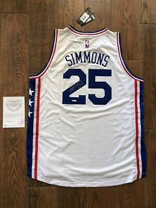 BEN SIMMONS Autographed Sixers Home White Jersey UDA