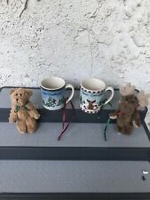 Set of 2 Boyds Bears Miniature Mug Christmas Ornaments with Small Bear & Moose
