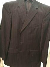 Jos A. Banks Mens Grey w/White Stripes Signature 39 34x30 Wool 3 Button Suit