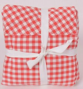 Pottery Barn Gingham Check Organic flat & fitted sheet only, coral *sample