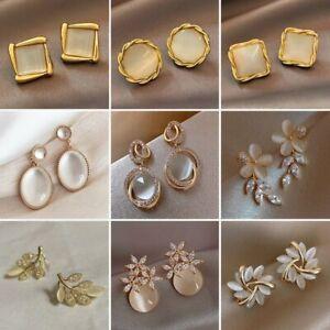 Geometric Oval Square Zirconia Opal Flower Stud Earrings Drop For Women Jewelry