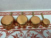 Set Of 4 Vintage Copper Measuring Cups 2 4 6 8 Oz  Made In Portugal