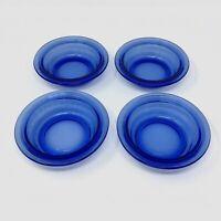 "Set of 4 Small Blue Hazel Atlas Moderntone Depression Glass 5"" Bowls"