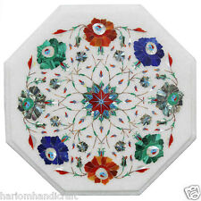 """12"""" White Marble Side Coffee Table Top Multi Pauashell Stone Patio Decor H2357"""