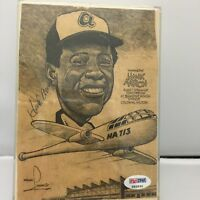Rare Hank Aaron Signed Art Invitation Bannister House Dinner Frank Lanning PSA