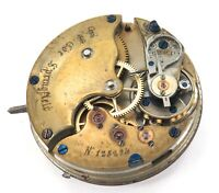 L B COE, SPRINGFIELD USA ?? LATE 1800s POCKET WATCH MOVEMENT & DIAL.