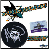 "ANDREW DESJARDINS Signed SAN JOSE SHARKS Puck w/COA ""NEW"" #2"