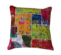"""Colorful Handmade Pillow Cover Patchwork Kantha Throw Traditional Cushion 24X24"""""""