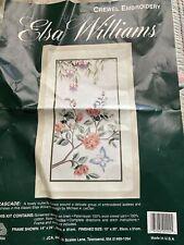 Elsa Williams Crewel Embroidery Kit Cascade Butterfly Flowers Fuschias Started