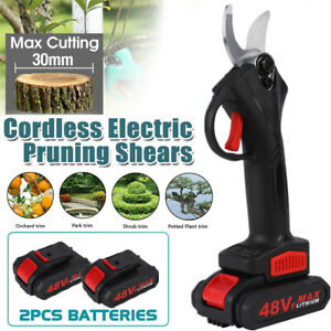 Cordless Pruning Shears Scissor Cutter Pruner Garden Patio W/ 2 Battery Electric