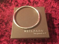 Silpada Sterling Silver Hammered Thin Bangle Bracelet B1482 Retired