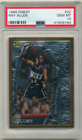 1996-97 Topps Finest #22 Ray Allen/ PSA 10 GEM MINT RC Rookie Milwaukee Bucks