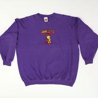 Vintage 90s Tweety Bird Embroidered Crewneck Sweatshirt XL Rare Looney Tunes D86