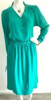 90s Midi Silk Dress Skirt Blouse Embossed Green Argenti Large 10 GUC