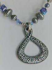 "Tres Jolie Design 16-18"" Bali Styled Sterling Silver Blue Bead Pendant Necklace"