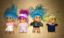 "LOT of 4 TROLL DOLLS 4.5"" Retro Vintage 90's Kids Navy"