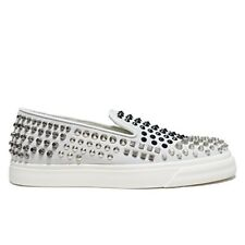 GIUSEPPE ZANOTTI 'LONDON MOC' RM5059 White STUDDED LOAFER / SHOES - 43.5 / 10.5