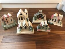 Vintage 6 PUTZ LIGHT UP CHRISTMAS VILLAGE Cardboard & Mica Houses Trees Japan H1