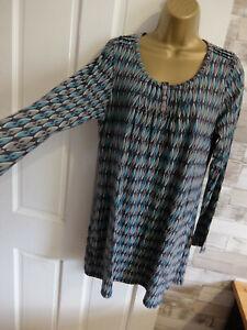 MUDD&WATER ● size 14 ● grey blue printed tunic dress womens ladies