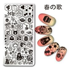 Nail Art Stamping Template Honey Bear Flower Image Print Plate Harunouta L044