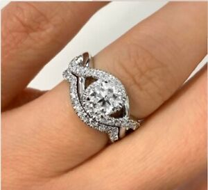 1.87Ct White Round Diamond Crossover Shank Bridal Ring Set 925 Sterling Silver