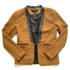H&M Women's Blazer With Leather Trim Cognac Tan Small Medium