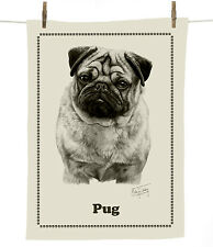 Mike Sibley Pug dog breed cotton tea towel - dog lover gift