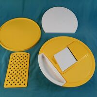 Vintage Tupperware Harvest Large Grater /Cheese Keeper w Lid, Cutting Board.