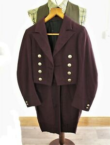 Amazing Vintage Mens Victorian Hunt Livery Dress Tail Coat Stag Buttons Very Sma