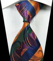 Hot Classic Paisley Gold Green Purple JACQUARD WOVEN 100% Silk Men's Tie Necktie