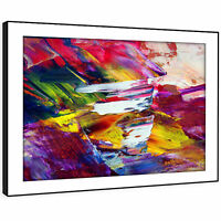 AB249 Pink Yellow Graffiti Modern Abstract Framed Wall Art Large Picture Prints